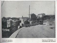 Tramvía de Vallvidrera, carretera de Vallvidrera al Tibidabo, 1910, al fondo el Hotel Ideal Pavillon.