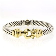 David Yurman Rope Bangle Bracelet in Sterling Silver and 14KT Yellow Gold