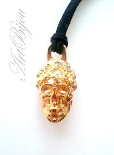 Metal Pendants – Gold Skull Pendant, Zamak Pendant, Black Suede – a unique product by ArtBijou on DaWanda