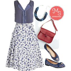 In this outfit: What a Catch! Skirt, Work Your While Top, Dew the Twist Necklace, Pretty Between Cities Bag in Vermilion, Conservatory Concerto Flat #nautical #stripes #patterns #navy #cute #casualchic #ModCloth #ModStylist #fashion