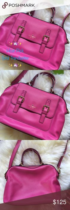 """⚡️SALE ✨HOST PICK✨ Kate Spade NY Bag Bright, bold & beautiful, this fabulous Kate Spade bag is the most stunning shade of pink m, appropriately named Baja Rose. It's such a fun statement piece, sure to receive endless compliments. In excellent condition, only used once, clean inside & out. Measures roughly 12"""" wide & 9"""" tall with a detachable 42"""" cross body strap & lovely gold tone hardware. Comes with original price tags, care card & dust bag. Kate Spade Bags Shoulder Bags"""