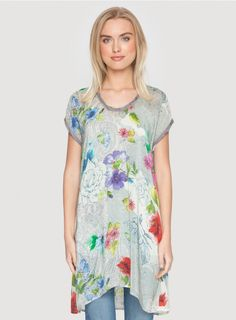 Alyssa Scoop Tunic The Johnny Was ALYSSA SCOOP TUNIC is a versatile addition to your wardrobe - this printed tunic can be worn on its own as a mini-dress, or over jeans or leggings! The ALYSSA SCOOP TUNIC features a scattered floral print on a grey paisley ground and pairs perfectly with wedge sandals and a white jean jacket for an easy-yet-chic Spring look.  - Printed Rayon Georgette - Scoop Neckline, Short Sleeves, Tunic Length - Signature Print - Care Instructions: Machine Wash Cold…