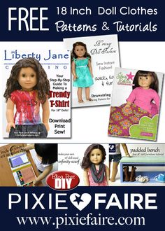 14+ Free 18 inch doll clothes patterns and tons of free tutorials at Pixie Faire! THis links to the patterns, find the tutorials here: http://www.pixiefaire.com/blogs/doll-tips-and-tutorials