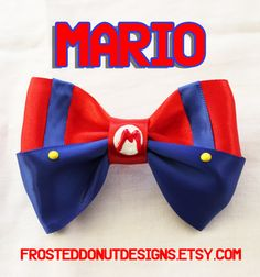Super Mario Bros  Mario inspired bow by FrostedDonutDesigns