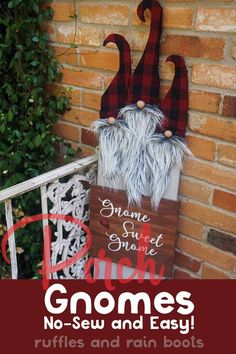 How cute is this gnome porch sign? I can't wait to make one. Click through to see the simple gnome tutorial and get the free gnome pattern! Christmas Gnome, Christmas Signs, Outdoor Christmas, Christmas Projects, Christmas Decorations, Christmas Ornaments, All Things Christmas, Christmas Ideas, Gnome Tutorial