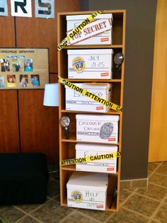 Evidence shelf for vbs display in atrium of church for agency d3