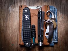 "One of our Saddlebacker's everday carry. ""realworldedc: Light EDC - April 2013 Victorinox Alox Pioneer Peak Eiger w/ Prometheus Ti Clip Keys w/ Spyderco HoneyBee SS PlainEdge Saddleback Leather Wallet Sleeve The Hill-Side Aloha Pocket Square"""