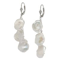 Sterling Silver Keshi Pearl Earrings