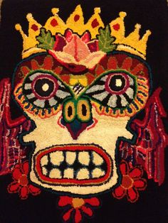 Wow Wow Wow!!! This is, like, my favorite thing EVER!!!!  Day of the Dead Inspired Rug - Traditional Rug Hooking in Wool