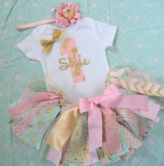 Baby Girls 1st Birthday outfit, Pink mint gold fabric tutu One, 2nd, personalized name, cake smash girls , baby onesie, First birthday party