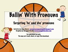 """This 8 page download is perfect for working on 'he' and 'she' pronouns with a basketball theme, just in time for March!  Included in the download are:-Game instructions-CCS reference-""""I will"""" learning goal-16 'he' target cards-16 'she' target cards-game boardI would love to hear your feedback if you grab it!Thank you for visiting my store!JennCrazy Speech World Freebie offered under Scrappin Doodle license #TPT89953"""
