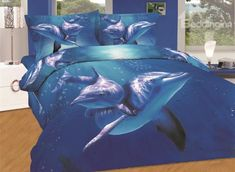 Amazing Dolphin Swimming in Sea Print 4-Piece Cotton Duvet Cover Sets on sale, Buy Retail Price Animal Print Bedding Sets at Beddinginn.com