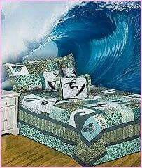 Bedding Features Square Pattern With Surfer Images, Flower Appliques And  Waves. Update Your Bedroom Decor With A Cotton High Tide Patchwork Quilt  Set.