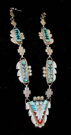 Native America Indian Jewelry Navajo Earrings Zuni Tribe Sterling Silver Turquoise Feather Coral Petit Point Inlaid Earrings Southwestern