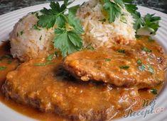 Hovězí plec na hořčici s jasmínovou rýží | NejRecept.cz Meat Recipes, Ham, Pork, Food And Drink, Pizza, Treats, Snacks, Chicken, Baking
