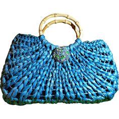 Retro Teal Blue Straw/Raffia Purse Bamboo Handles Vintage Pin