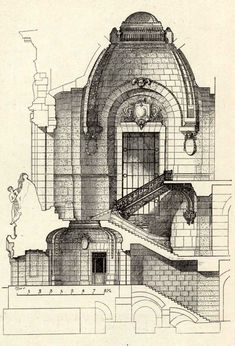 Architecture Drawings, Crafts For Teens, Fun Projects, Drawing Sketches, 19th Century, Art Nouveau, Taj Mahal, Garden Design, San