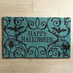 Our happy Halloween doormat welcomes your guests with the spirit of the season. Swirling shapes mix with bats and spiders to set the tone for your Halloween style.