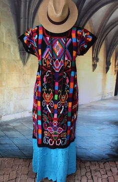Striking Black Traditional Valle Nacionale Hand Woven Huipil Oaxaca Tree of Life #Handmade #MexicanDress