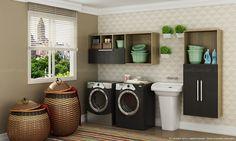 Como deixar a lavanderia bem decorada e funcional.  http://www.lojaskd.com.br/blog/tag/lavanderia/#.VCVpovldUgs