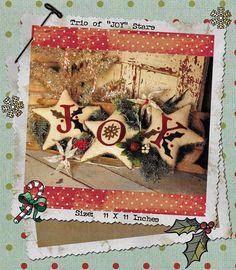 Wool Applique Pattern, A Trio of Stars, Christmas Ornaments, Vintage Design, Christmas Decor, Buttermilk Basin, PATTERN ONLY, www.farmersattic.etsy.com, $7.99