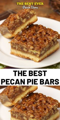 The Best Ever Pecan Pie Bars are so good people offer to pay me for them. A fabulous recipe with a caramelized pecan pie set atop a shortbread crust is the absolute perfect nut bar. My family requests more of this dessert than any other every year. Pecan Bars, Recipe For Pecan Pie Bars, Caramel Pecan Pie, Köstliche Desserts, Delicious Desserts, Dessert Recipes, Creative Desserts, Pie Recipes, Baking Recipes