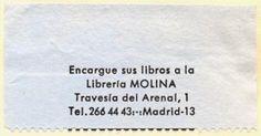 Libreria Molina, Madrid, Spain (54mm x 28mm, ca.1966)