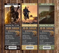 Novel Concept Designs - Star Wars - The Mandalorian - Birthday Party Ticket Invitation