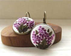 Tulip Flower Earrings Tulip Floral Polymer Earrings by Floraljewel