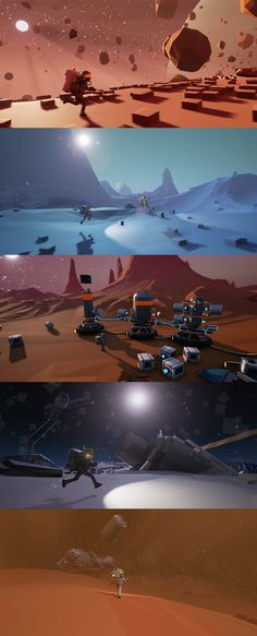 Some shots from 2 random planets found in a game my friends and I are making. #screenshotsaturday #heregoesnothing