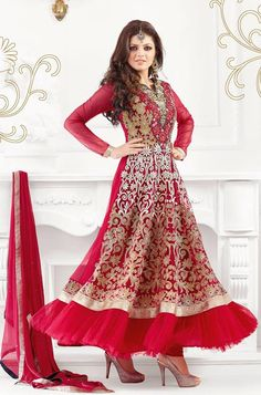 red flowy indian anarkali dress for wedding brides Party Wear For Women, Party Dresses For Women, Cheap Dresses, Day Dresses, Girls Dresses, Party Wear Indian Dresses, Dress Indian Style, Wedding Dresses, Pakistani Outfits