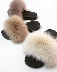 Fur slides and slippers made of real fox and rabbit fur. Step inside NOW to find all colors of fur sandals and shoes in Haute acorn online fur store. Fluffy Shoes, Fluffy Sandals, Cute Slides, Fuzzy Slides, Slippers With Arch Support, Slipper Boots, Cute Sandals, Dream Shoes, Womens Slippers