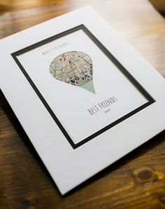 Where It All Began - Unique Map Gifts for Friends - Gift For Best Friends- Distance Friendship Relationship Gift- BFFs Christmas Present First Anniversary Gifts, Paper Anniversary, Presents For Best Friends, Best Friend Gifts, Wedding Vow Art, Art Encadrée, Unique Maps, Long Distance Relationship Gifts, Art Carte