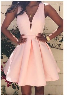 ab33340f04a3 V-neck slim tunic sleeveless mini pink party dresses PTC 173   Price