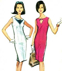 1960s Dress Pattern McCalls 7719 Mod Sleeveless Shift Dress Cut Out Bodice Keyhole Opening Womens Vintage Sewing Pattern Bust 32 Uncut