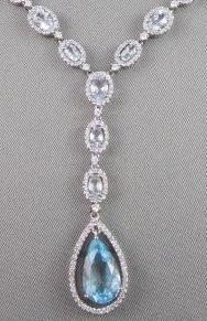 Antique 23 7ctw Aquamarine Diamond Pear Drop 14kt White Gold Necklace   eBay