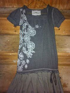 Upcycled Tshirt Dress  - Bleach pen.