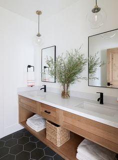 modern farmhouse bathroom design with black hexagon tile, modern metal mirrors, White Oak Bathroom Vanity , neutral modern bathroom design and bleached oak cabinets Interior Design Minimalist, Luxury Interior Design, Bathroom Interior Design, Home Design, Design Ideas, Bath Design, Washroom Design, Oak Bathroom Vanity, Small Bathroom