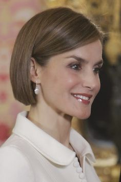 Queen Letizia hosts a lunch in honor of Cervantes literary prize winners at the Royal Palace in Madrid on April 22, 2015.