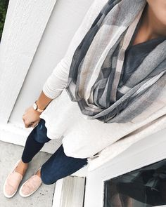 Can I just say how happy I am to be dressing for cooler weather again?! Nothing beats fall fashion. Lots of you asked about this outfit I wore on my Target run on my story so here it is. This scarf is brand new & only $19! I love the neutral colors. Linking up my entire look at the shop page link in my bio and with @liketoknow.it http://liketk.it/2sQVR #liketkit