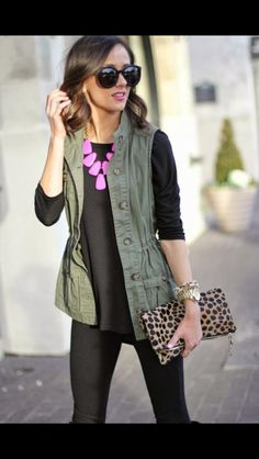 Black outfit with pop of pink statement necklace and army green vest. Perfect with the leopard clutch. Stitch Fix Fall Fashion 2016