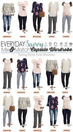 This Maurices Clothing spring capsule wardrobe is full of cute casual outfits that mix and match. The make getting dressed and looking great easy.