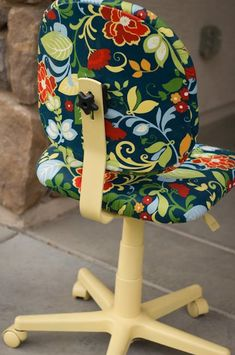 Colorful Office Chair Makeover...I'm doing this. I hate office furniture. #ChairMakeover