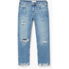 MANGO Straight Joe Jeans ($30) ❤ liked on Polyvore featuring jeans, pants, bottoms, distressed cropped jeans, cropped jeans, straight leg jeans, distressed jeans and destructed jeans