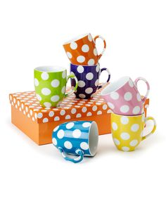 Perfect for tea parties and after-dinner coffee service, these marvelous mugs and saucers come in a kaleidoscope of colors that make every sip taste twice as nice.