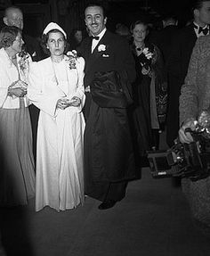 Walt Disney and Wife Arriving at Movie Premiere 1940