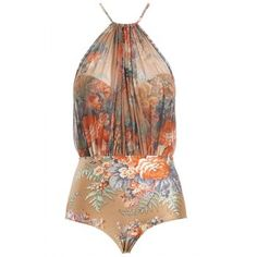 Sexy Floral Print Halter Backless One Piece Swimwear For Women (COLORMIX,S) in One-Pieces | DressLily.com