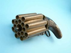 Very Rare and Unusual Sixteen-Shot Brass-Barreled Ring-Trigger Percussion Pepperbox Pistol by M. Cerwenka, c. 1860