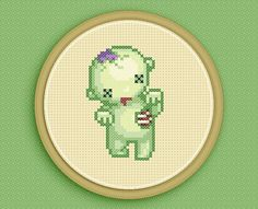 Cross Stitch Pattern: BRAAAINS zombie - based on original pixel art by iamnotadoll @ etsy. $5.00USD