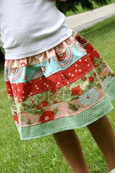 Bliss Patchwork Strip Skirt by lylabugcreations